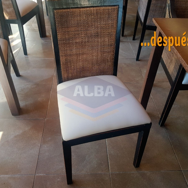 Tapizado de sillas y módulos del comedor y de la cafetería del Hotel Estival Isla Cristina